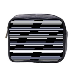 Skewed Stripes Pattern Design Mini Toiletries Bag 2 Side by dflcprints