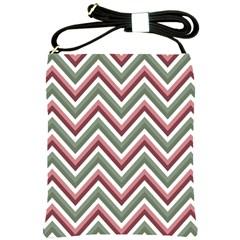 Chevron Blue Pink Shoulder Sling Bags by snowwhitegirl
