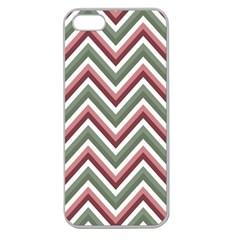 Chevron Blue Pink Apple Seamless Iphone 5 Case (clear) by snowwhitegirl
