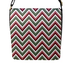 Chevron Blue Pink Flap Messenger Bag (l)  by snowwhitegirl