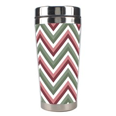 Chevron Blue Pink Stainless Steel Travel Tumblers by snowwhitegirl
