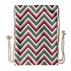 Chevron Blue Pink Drawstring Bag (large) by snowwhitegirl