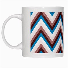 Zigzag Chevron Pattern Blue Magenta White Mugs by snowwhitegirl