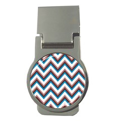Zigzag Chevron Pattern Blue Magenta Money Clips (round)  by snowwhitegirl
