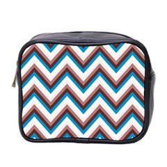 Zigzag Chevron Pattern Blue Magenta Mini Toiletries Bag 2 Side by snowwhitegirl