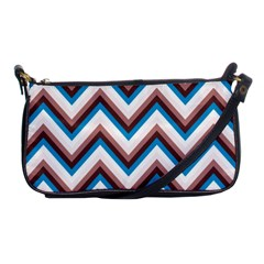Zigzag Chevron Pattern Blue Magenta Shoulder Clutch Bags by snowwhitegirl