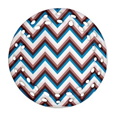 Zigzag Chevron Pattern Blue Magenta Ornament (round Filigree) by snowwhitegirl