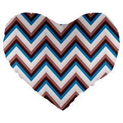 Zigzag Chevron Pattern Blue Magenta Large 19  Premium Heart Shape Cushions by snowwhitegirl