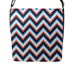 Zigzag Chevron Pattern Blue Magenta Flap Messenger Bag (l)  by snowwhitegirl
