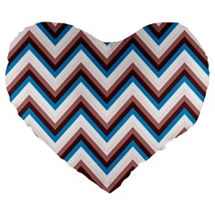 Zigzag Chevron Pattern Blue Magenta Large 19  Premium Flano Heart Shape Cushions by snowwhitegirl