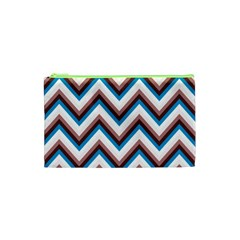 Zigzag Chevron Pattern Blue Magenta Cosmetic Bag (xs) by snowwhitegirl