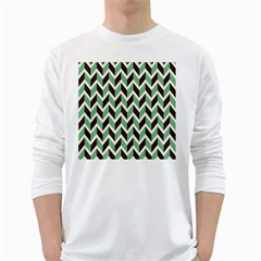Zigzag Chevron Pattern Green Black White Long Sleeve T Shirts by snowwhitegirl