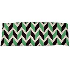 Zigzag Chevron Pattern Green Black Body Pillow Case Dakimakura (two Sides) by snowwhitegirl