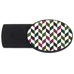 Zigzag Chevron Pattern Green Purple Usb Flash Drive Oval (2 Gb) by snowwhitegirl