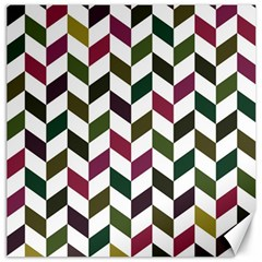 Zigzag Chevron Pattern Green Purple Canvas 12  X 12   by snowwhitegirl