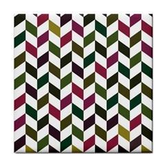 Zigzag Chevron Pattern Green Purple Face Towel