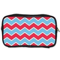 Zigzag Chevron Pattern Blue Red Toiletries Bags 2 Side by snowwhitegirl