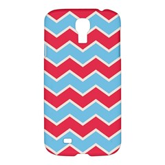 Zigzag Chevron Pattern Blue Red Samsung Galaxy S4 I9500/i9505 Hardshell Case by snowwhitegirl