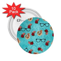 Vintage Glasses Blue 2 25  Buttons (10 Pack)  by snowwhitegirl