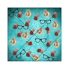 Vintage Glasses Blue Acrylic Tangram Puzzle (6  X 6 ) by snowwhitegirl