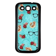 Vintage Glasses Blue Samsung Galaxy S3 Back Case (black)
