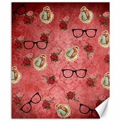 Vintage Glasses Rose Canvas 8  X 10  by snowwhitegirl