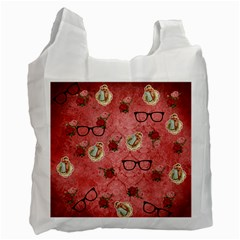 Vintage Glasses Rose Recycle Bag (two Side)  by snowwhitegirl