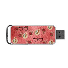 Vintage Glasses Rose Portable Usb Flash (two Sides) by snowwhitegirl