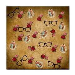 Vintage Glasses Beige Tile Coasters by snowwhitegirl