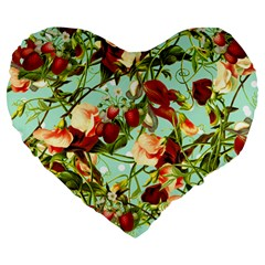 Fruit Blossom Large 19  Premium Flano Heart Shape Cushions by snowwhitegirl