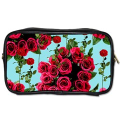Roses Blue Toiletries Bags 2 Side by snowwhitegirl