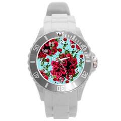 Roses Blue Round Plastic Sport Watch (l) by snowwhitegirl