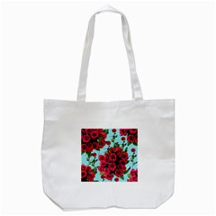 Roses Blue Tote Bag (white) by snowwhitegirl
