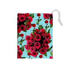 Roses Blue Drawstring Pouches (medium)  by snowwhitegirl