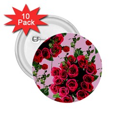 Roses Pink 2 25  Buttons (10 Pack)  by snowwhitegirl