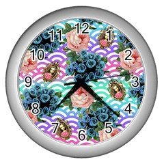 Floral Waves Wall Clocks (silver)  by snowwhitegirl
