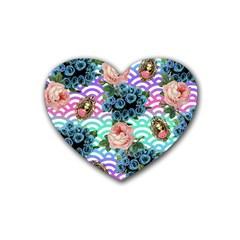 Floral Waves Rubber Coaster (heart)  by snowwhitegirl