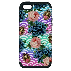 Floral Waves Apple Iphone 5 Hardshell Case (pc+silicone) by snowwhitegirl