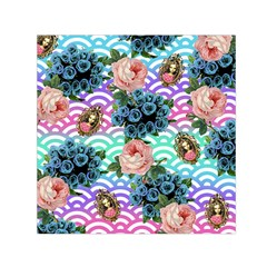 Floral Waves Small Satin Scarf (square) by snowwhitegirl