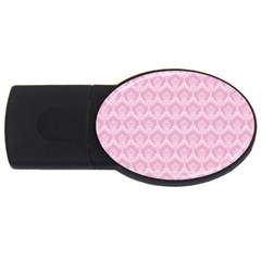 Damask Pink Usb Flash Drive Oval (4 Gb) by snowwhitegirl
