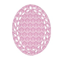 Damask Pink Oval Filigree Ornament (two Sides) by snowwhitegirl