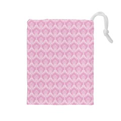 Damask Pink Drawstring Pouches (large)  by snowwhitegirl