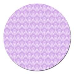 Damask Lilac Magnet 5  (round) by snowwhitegirl