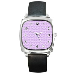 Damask Lilac Square Metal Watch