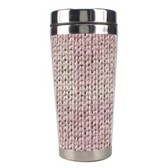 Knitted Wool Pink Light Stainless Steel Travel Tumblers by snowwhitegirl