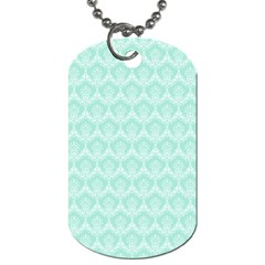 Damask Aqua Green Dog Tag (two Sides) by snowwhitegirl
