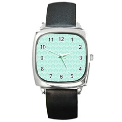 Damask Aqua Green Square Metal Watch by snowwhitegirl