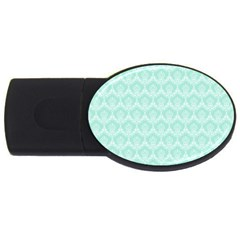 Damask Aqua Green Usb Flash Drive Oval (4 Gb) by snowwhitegirl