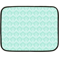 Damask Aqua Green Double Sided Fleece Blanket (mini)  by snowwhitegirl