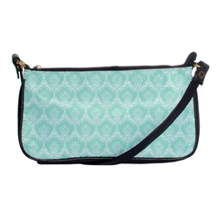 Damask Aqua Green Shoulder Clutch Bags by snowwhitegirl